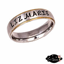 Stainless Steel Gold Edge 6mm Personalized Name Ring With One or Two Names