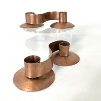Pair of Vintage Copper Candle Holders Unmarked 2 Candles Each Handmade Dual Use