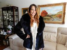 NWT KNITTED GENUINE MINK & FOX COLLAR SWING FUR JACKET COAT PARKA OUTWEAR