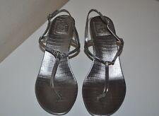 772f2dc4e728 Tory Burch Metallic Silver Leather Logo Low Heel Sandals Shoe Sz 9 Ankle  Strap