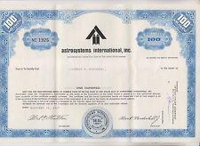 (2) 1967 ASTROSYSTEMS INTERNATIONAL INC STOCK CERTIFICATES - DELAWARE