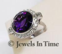 11.00 Carat Amethyst & Diamond Diamond Ring in 18K White Gold Size 6.75
