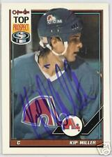 KIP MILLER Quebec Nordiques 1992 O P C  AUTOGRAPHED HOCKEY CARD JSA