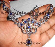 ANTIQUE ROSE CUT DIAMOND 5.08ct SILVER SAPPHIRE VICTORIAN VINTAGE STYLE NECKLACE