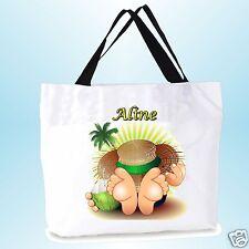 grand cabas sac shopping sac de plage  fond large personnalisé  prénom réf 03