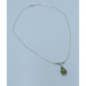 PETITE 925 Liquid Sterling Silver Green Peridot Teardrop Necklace