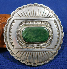 Vintage 16 Pcs Concho Belt Estate Artisan Sterling Stamped Domed Jade Handmade