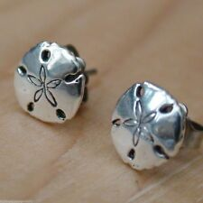 Sand Dollar Earrings - 925 Sterling Silver Post - NEW - Nautical Beach Jewelry