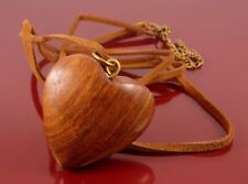 CHUNKY WOODEN LOVE HEART PENDANT ON LONG BROWN SUEDE LEATHER THONG NECKLACE