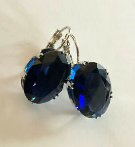 """Sapphire Earrings Blue Oval 14 Carats Simulant Silver Plated Leverback 1"""" #1899"""