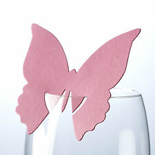 10 HOT PINK BUTTERFLY WINE GLASS NAME PLACE CARDS Table Setting Fuchsia