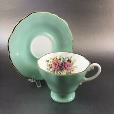 Antique Crown Staffordshire Mint Green Floral Bone China Tea Cup England Teacup