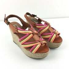 Aeropostale Neon Strappy Wedge Sandals Platform Shoes 8 Wicker Shoes