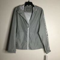 Michael Kors Womens Zip Up Jacket Gray Heathered Hooded Mesh Lined Pockets S New