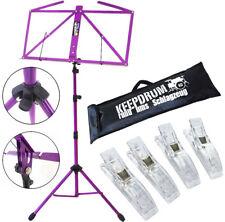 KEEPDRUM MUS3FL Notenstaender Lila + Tasche + 4 Notenklammer