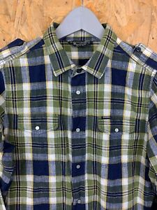 DIESEL, Mens Size S, Khaki/Navy Check, LS Fitted Shirt,*EX COND*