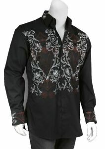 100% Cotton Men's Casual  Dress Shirt With Embroidered Design Black White SG37