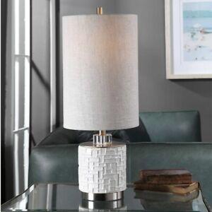 "ELYN CONTEMPORARY 26"" GLOSS GLAZE WHITE CERAMIC TABLE LAMP UTTERMOST 29731"