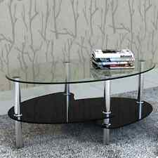 Oval Coffee Table Glass Stainless Steel Legs Shelves Modern Office Home BLACK