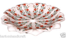 """10"""" Marble Dry Fruit Bowl Carnelian Marquetry Rare Inlay Dining Table Arts H2254"""