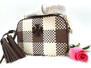 NWT TORY BURCH McGraw Woven Plaid Camera Pebbled Leather Bag In Cold Brew
