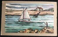 LOUIS J MILLER__Signed_Modernist Watercolor_Lake/Sailing/Fishing_ExC_SHIPS FREE