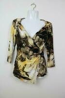 Cache Womens Blouse Size Small 3/4 Sleeve V Neck Wrap Floral Yellow Brown EUC