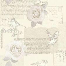 New Arthouse Bella Cream Luxury Script Bird Flower Rose Wallpaper - 630400
