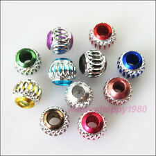50 New Charms Mixed Silver Carved Lantern Aluminium Spacer Beads 6mm