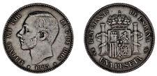 1 Silver Peseta - 1 Peseta Silver Alfonso XII Madrid 1883. VF/VF