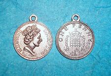 Pendant Coin Charm Money European Coin One Penny Charm Queen Charm French Paris