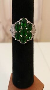 Russian Green Chrome Diopside Oval Cut 925 SS Size 7