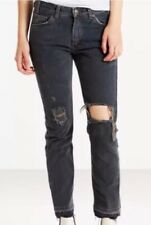 LEVI'S 505c CROPPED JEANS 31 Gray Fray SUMMER OF LOVE High Waist NWT