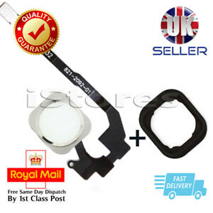 Apple iPhone 5S & SE home Main Menu Button Flex Ribbon Cable White / Silver