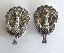Antique Vintage  Siam Niello Sterling Silver Peacock Clip-on Earrings