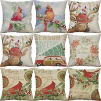 """18"""" Christmas Car Home Decor Printing Cotton Linen Cushion Cover pillow case"""