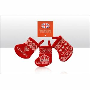 London Knitted Christmas Stocking - tree Decorations
