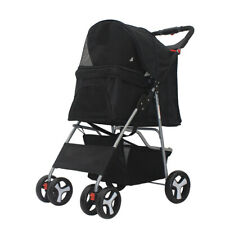 Black 4 Wheels Folding Pet Stroller Cat Dog Cage Stroller Carrier Lightweight