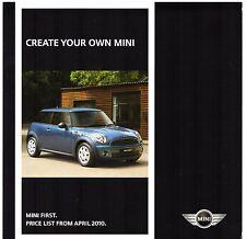 Mini First 1.6 Hatchback 2010 UK Market Foldout Specification Brochure