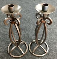 Vintage Pair Of Silver Wrought Iron Candle Holders Decor Centerpiece Wedding T