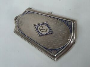 Powder Compact Art Deco Sterling Silver 935 & Lacquer - 101.00gr