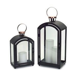 """Lantern (Set of 2) 15""""H, 20""""H Metal/Glass"""