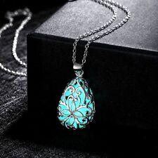 Fashion Hollow Flower Luminous Glow in The Dark Locket Pendant Necklace Jewelry Lake Blue