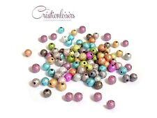 100 Perles rondes belles effet magique multicolore 6 mm
