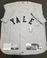 President George HW Bush Signed Yale Flannel XL Baseball Jersey Autographed JSA