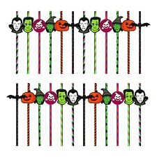 Pack of 24 Assorted Halloween Party Paper Straws - Pumpkin, Vampire, Witch etc