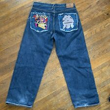 Vintage RMC Red Monkey Company Embroidered Abstract Japanese Fuji Jeans Size 38