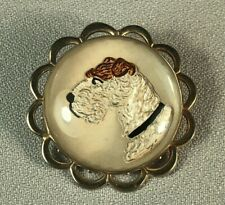 Vintage Reverse Painted Intaglio Essex Crystal Pin Of A Fox Terrier Dog