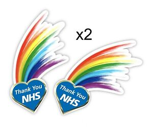 NHS x2 Rainbow Window Sticker Thank You NHS x2 FREE POST Stick Anywhere