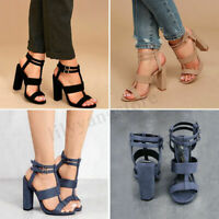 Women Summer Buckle Block High Heels Sandals Open Toe Ankle Strap Shoes Size 1